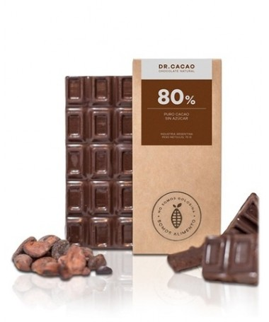 "Tableta de Chocolate 80 % s/azucar 50gr.""Dr Cacao"""